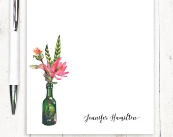 personalized notePAD - personalized stationary - stationery - lotus notepad - Watercolor Flowers in GREEN WINE BOTTLE