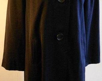 "1940's, 40"" chest navy blue wool gaberdine fall weight coat"