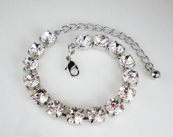 Handmade Crystal Rhinestone Bracelet Swarovski Wedding Jewelry Bridesmaid Jewelry