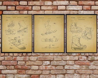 Blueprint decor etsy vintage snowboard patent prints discounted set of 3 ski decor skiing poster vintage blueprint wall art malvernweather Choice Image