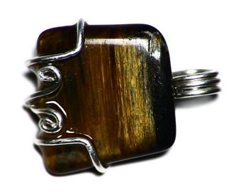 Silver Pietersite Charm, Golden Pietersite Pendant, Namibian Pietersite in Sterling Silver, Tumbled Pietersite Jewelry, Shiny Gem Necklace