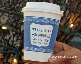 Personalized NYC Anthora Greek Paper Coffee Cups with Custom Text