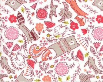 Forest Furries Multi on White Cotton Woven,  Just Another Walk in the Woods by Moda