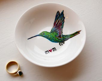 Hummingbird Ring Dish - Personalized Gift For Mom, Hummingbirds, Mothers Day, Jewelry Dish, Jewelry Bowl, Free shipping, Mother's Day Gift
