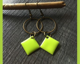 earrings, lime green and bronze