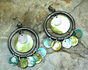 vintage silver green pistachio and blue turquoise multi circles dangle earrings