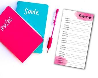 Printable password journal  : Personal Size - Password keeper - Password book - Password log - Password tracker - Password sheet - Password
