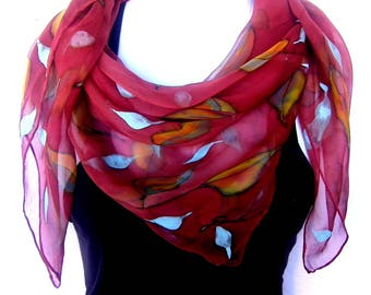 Hand Painted Silk Scarf, Leaves, Chestnut Brown Green Orange, Square Silk Chiffon Scarf, Gift For Her