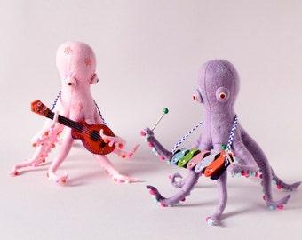 Print: Octopus Band - photo photography toy felt plush art music walldecor ocean sea creature xylophone ukulele HineMizushima pink lavender