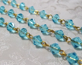 """One Meter 39.5"""" Faceted Caribbean Blue Bicone Glass 6mm Beaded Rosary Chain Gold 982"""