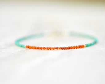 tiny malachite and orange turquoise string bracelet. sterling silver. matte beads orange and green color block bracelet. tiny beads bracelet