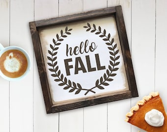 Hello Fall Farmhouse Sign, Hello Fall Sign, Rustic Decor, Fall Sign, Autumn Decor, Fall Decor Wood Sign