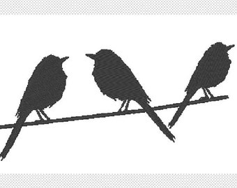 Birds on a Wire solid embroidery design file multiple sizes and formats