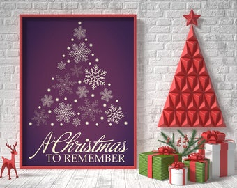 Vintage Christmas decorations, a christmas to remember, christmas printable wall decor, christmas sign, holiday typography decor, xmas