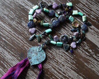 Unlisted - Purple Goddess Necklace - Tassel Necklace - Bohemian Knotted Necklace - Rustic - Bead Soup Jewelry - Leaf Necklace