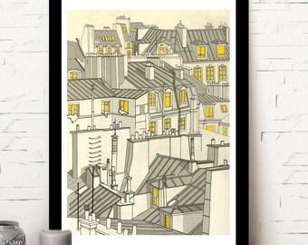 Paris, roofs of Paris, illustration, home decor