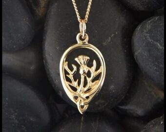 Thistle Trinity Celtic Pendant in 14K Gold