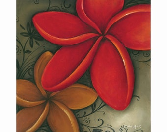 red frangipani art hand painted