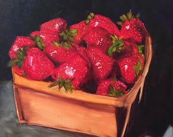 Basket of Strawberries Original Print
