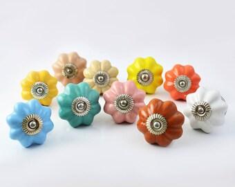 Set of 10 Rainbow Colorful Handmade Ceramic Pumpkin and Round Knobs Pulls for Cabinet / Girls Dresser/Kids Cupboard/Kitchen Drawer Handles