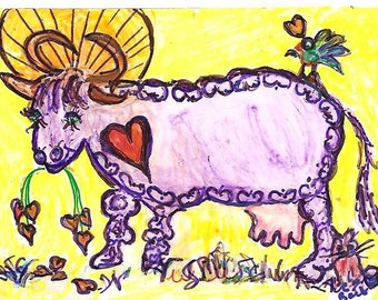 Udderly Perfect Three-Legged Purple  Heart Angel Cow