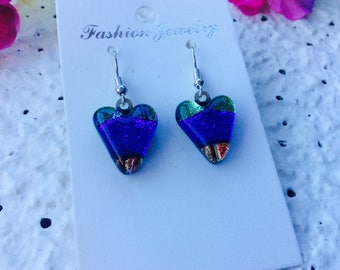 Heart Shaped Dichroic Earrings