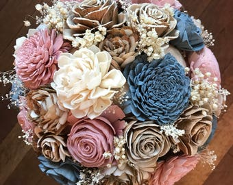 Sola flower bouquet, brides wedding bouquet, dusty blue and blush pink wedding flowers, dusty rose bouquet, eco flowers, wood flower bouquet