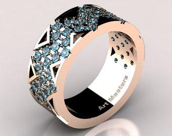Womens Modern 14K Rose Gold Blue Topaz Wedding Band R805F-14KRGBT