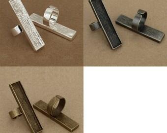 3x5pcs  12x53mm antique bronze  pewter  blank  bezel  rectangle  ring  12x53mmantique silver