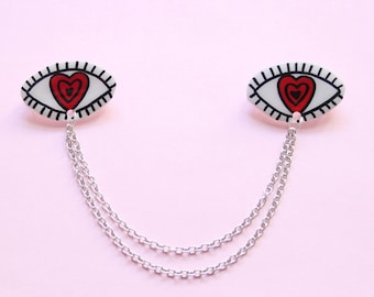 Hypnotized Eyes Collar Clip Set w/ Chain