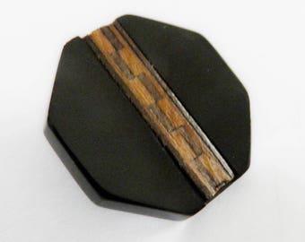 Black Bakelite Button Wood Mosaic Inlaid