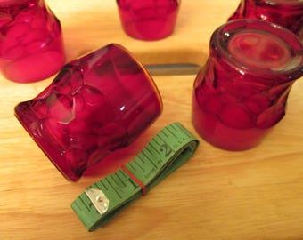 Vintage Ruby Red Georgian Short Glasses Liquor