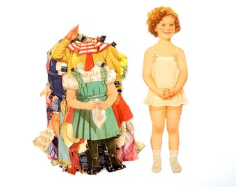 """Vintage Paper Doll """"Shirley Temple"""" with Clothing, 13 pieces (c.1940s) - Doll Ephemera, Collectible Doll, Paper Projects"""