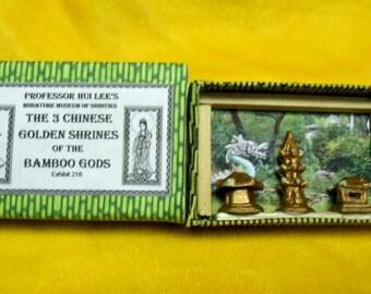 OOAK Handmade Miniature Oddities 3 Chinese Golden Shrines of the Bamboo Gods Display Creepy Unusual Cute Matchbox Art