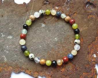 Gemstone bracelet Colorful with 925 silver elements