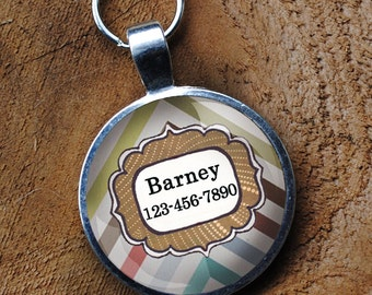 Pet iD Tag pastel chevron colorful round Dog Tag round -  by California Mutts