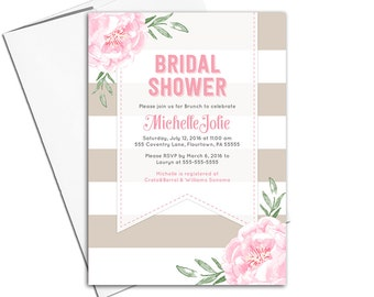Floral wedding shower invitation printable | Stripe bridal shower invite pink and taupe | digital or printed - WLP00651