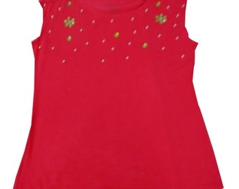 Red sleeveless top with hand stitched beads.