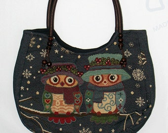 10% Off [Orig. 16.99] Owl tote bag medium Handbag Vintage Style Cotton purse Hobo bag shoulder bag