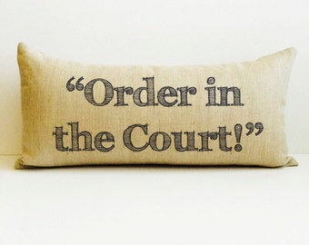 New judge gift, new lawyer gift, graduation gift, juris doctor gift, personalized pillow, gift, pillows with words, overruled pillow, judge