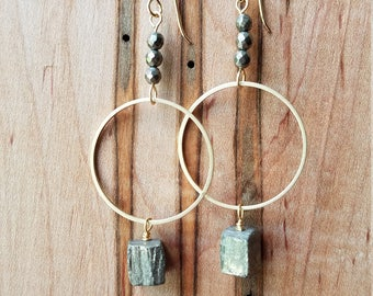 Pyrite and brass abstract earrings