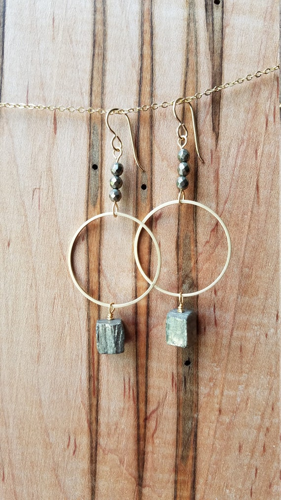 Pyrite and brass abstract geometric earrings