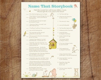 Storybook Baby Shower Name That Storybook Printable Game, Storybook Match Game, How Well Do You Know Children's Literature, Storybook Game