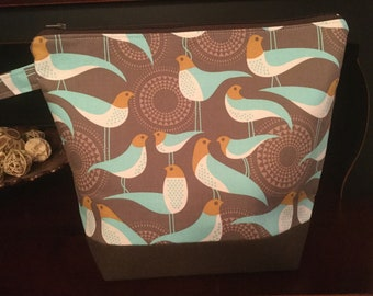 Birds, gray, Joel Dewberry Perch, Large Zippered Knitting Project Bag