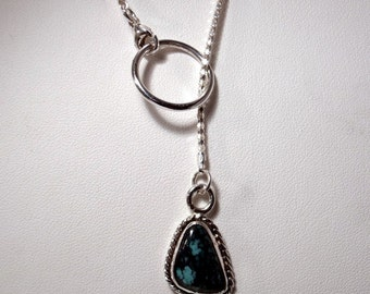 Turquoise in Sterling Silver Lariat style Necklace RF486