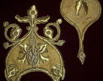 Antique Metallic Lame Vestment Appliques For Rework