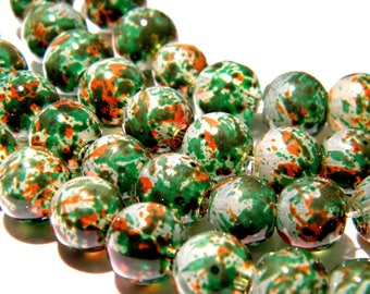 20 beads-glass - 8 mm translucent - green and orange PG151 1