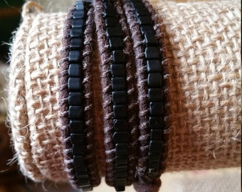 Black and brown wrap bracelet