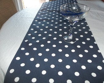 navy pokadot table runner, wedding decorations, wedding tables