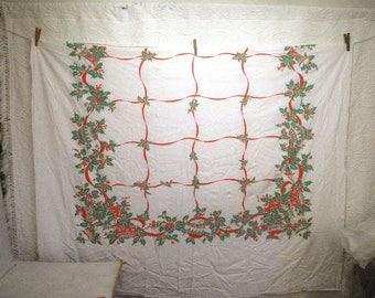 """Large 61"""" x 93"""" Retro Christmas Tablecloth - Shiny Brite Ornaments Bells Holly - AS IS"""